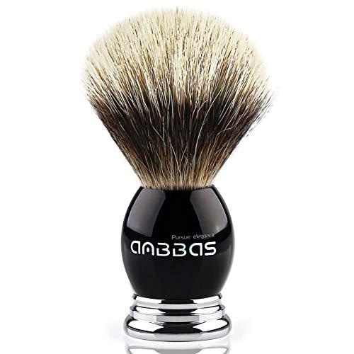 Anbbas Blaireau de Rasage pour L'homme, Blaireau Naturelle, Noir Poignée avec Fabriqué en Résine et Alliage,C'est Accessoire Complet Pour Brosse à Barbe d l'homme.