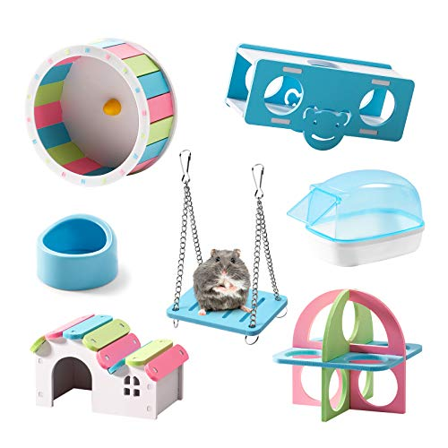 Rolife Hamster Exercise Wheel Hamster Chew Toys Hamster Accessories Hamster Houses and Hideouts 7 Pack - Blue
