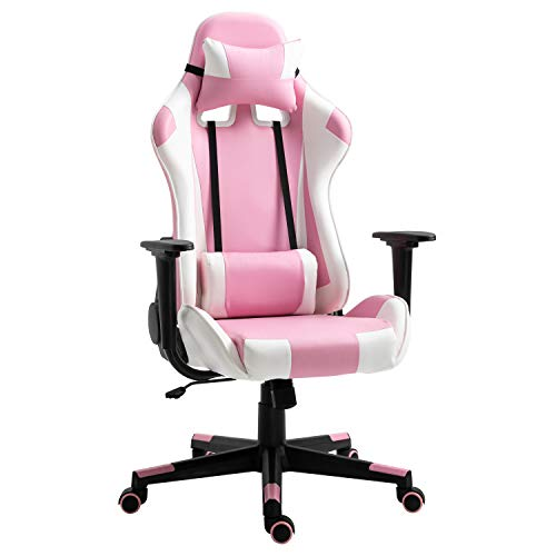 Modern-Depo Gaming Chair with Headrest and Lumbar Support, Height Adjustable Swivel Office Chair High-Back Recliner, Pink White