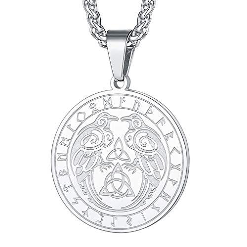 FaithHeart Collar Vikingo Nórdico Acero Inoxidable 316L para Hombres y Mujeres Joyería Morales de Talismán de Protección Símbolos Martillo de Thor Nudo Celta Dios Odín