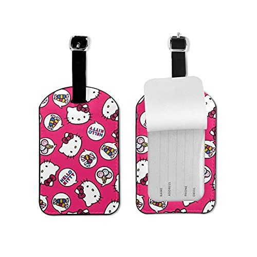 Hello Kitty etiqueta de equipaje elegante y exquisita etiquetas de equipaje hechas de piel sintética de microfibra, adecuado para maleta y bolso