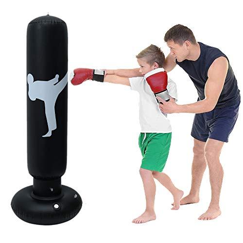 Sacco da Boxe da Terra 160 cm Sacco di Sabbia Gonfiabile Fitness Gonfiabile Indipendente Taekwondo per Allenamento Adulti e Bambini (Nero)