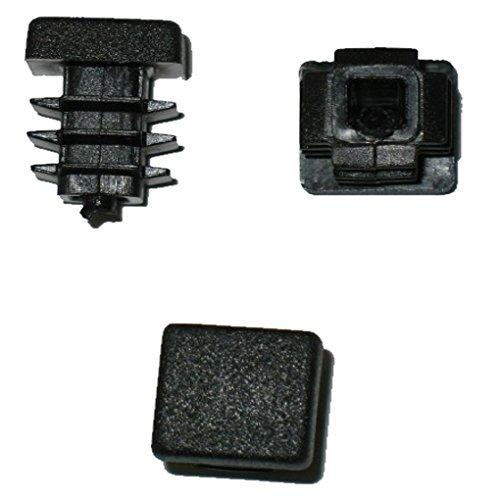 Lot de 20 bouchons à lamelles carrés pour tuyaux 10 x 10 mm (extérieur) Noir
