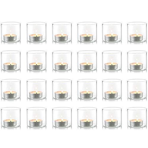 Nuptio Klarer Votiv-Kerzenhalter, Satz von 24 Teelicht-Kerzenhalter-Glasschale für Hochzeit oder Wohnkultur, Teelichtgläser, Votivkerzenhalter Glas, Kerzenständer Glas für Wohnzimmer Weihnachten Deko