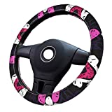 Folk Art Motif With Flowers 3D pattern steering wheel cover car accessories female girl gift universal type suitable for car decoration