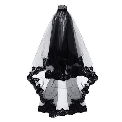 Lurrose Voile à broder à 2 étages Motif floral Noir 150 cm