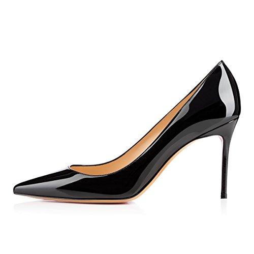 EDEFS - Scarpe con Tacco Donna - Tacco A Spillo 8 CM - Scarpe da Donna - Nero - Taglia EU44