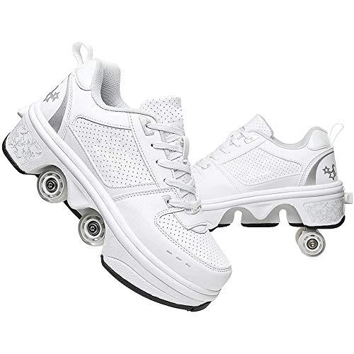 Massage-AED Rollerblade Adulto,Doble Rodillo Zapatos De Skate Zapatos Invisible De Polea De Zapatos Zapatillas De Deporte Luz Zapatos Zapatos Multiusos, Niños Zapatos con Ruedas