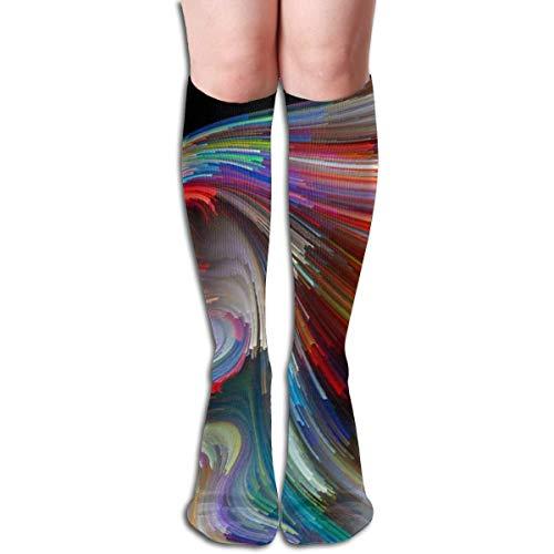 Bert-Collins Cara de disposición de color de perfil humano y línea colorida Calcetines de poliéster para correr, uso diario, calcetines para mujeres y hombres