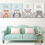 Nordique Style Set de 4 Posters pour Chambre d'Enfant, Peinture Dessinée...