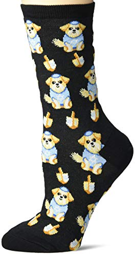 Hot Sox Women's Holiday Fun Novelty Crew Socks, Dreidel Dog (Black), Shoe Size: 4-10