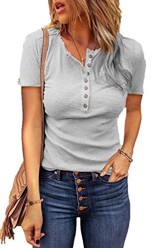 SLYZ Mujeres Europeas Y Americanas Verano Nueva Camiseta Suelta con Cuello En U Blusas De Manga Corta para Mujer