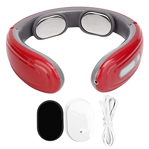 Qiilu Halswervel Massager, 100% Gloednieuwe Elektrische Slimme Draagbare Pijnbestrijding Nek Massager Pulse Schouder Nekkussen Protector Massage Instrument(Rood)