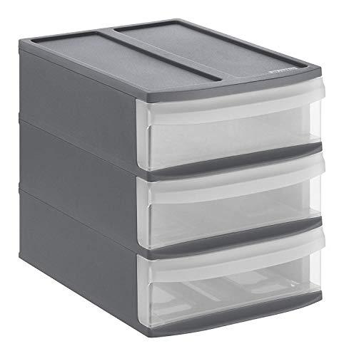 Rotho Systemix Cassettiera con 3 cassetti, Plastica (PP) Senza BPA, Antracite/Trasparente, S/A5 (26,5 x 19,2 x 23,3 cm)