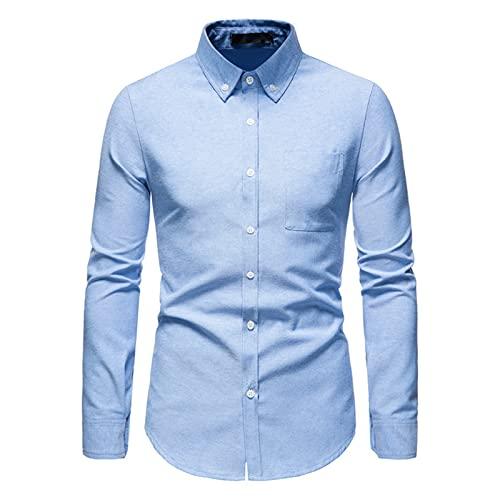Ocuhiger Camisa De Vestir Clásica De Moda para Hombre Camisas Formales De Negocios De Corte Estándar Regular Delgado con Botones Blusas De Manga Larga Blusa Patchwork Pocket Azul
