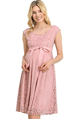 HELLO MIZ Maternity Floral Lace Baby Shower Party Cocktail Dress with Ribbon Waist