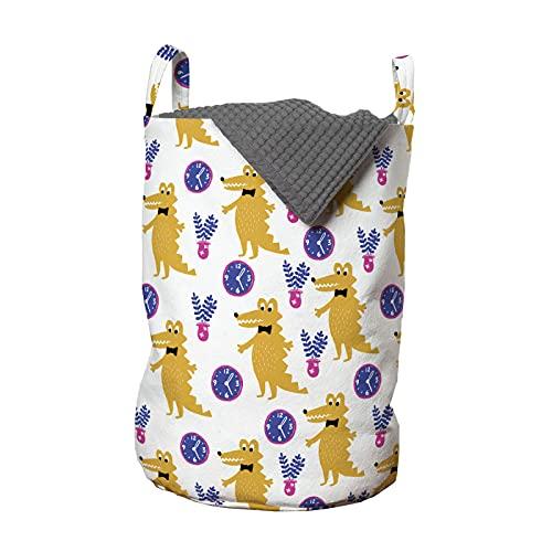 ABAKUHAUS Cocodrilo Bolsa de lavandería, Reloj del florero, Cesta con asas Cierre de cordón para las lavanderías, 33 x 33 x 49 cm, Violeta mostaza blanca