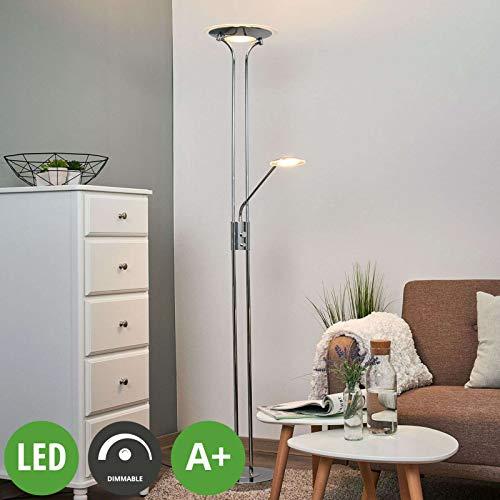 Lindby LED Stehlampe 'Aras' dimmbar (Modern) in Chrom aus Metall u.a. für Wohnzimmer & Esszimmer (A+, inkl. Leuchtmittel) - Wohnzimmerlampe, Stehleuchte, Floor Lamp, Deckenfluter, Standleuchte