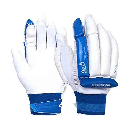 KOOKABURRA Unisex, Jugendliche 2020 Pace 5.2 Batting Glove Schlaghandschuhe, weiß/blau, Slim Fit Youth Right Hand