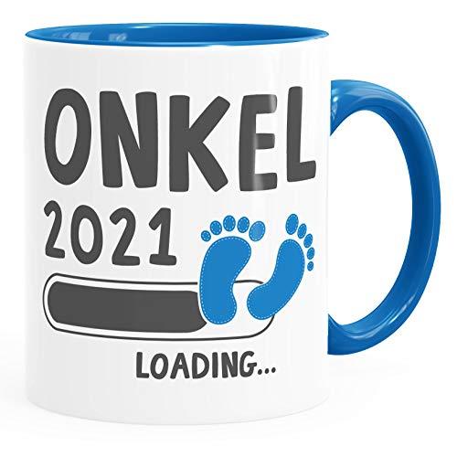 Taza de café Onkel 2019 loading taza de regalo para el futuro tío embarazo, taza de té de bebé MoonWorks azul talla única