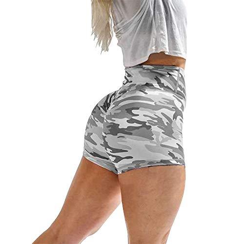 Hoomall Short de Yoga Femme Ete Mode Plage Legging Court Pantalon de Sport Push Up Élastique Stretch Casual Taille Haute Fitness