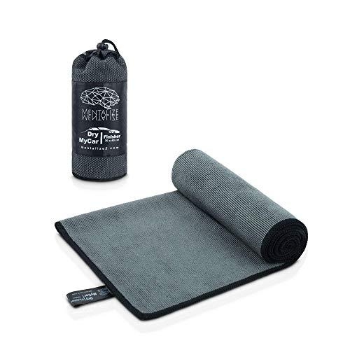 MENTALIZE® DryMyCar 90-Sekunden-Autotrocknung Microfasertuch 140x70cm | Giant & Finisher Mikrofasertücher Set | Ultra-Saugfähig Auto Trockentuch (1 x DryMyCar Finisher)