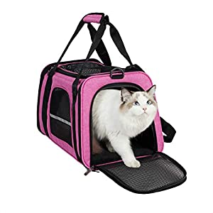 HiCaptain Soft Cat Carrier with Top Mesh Window – Pet Carrier Breathable for Medium Cats and Small Dogs Puppies up to 13 lb (Pink)