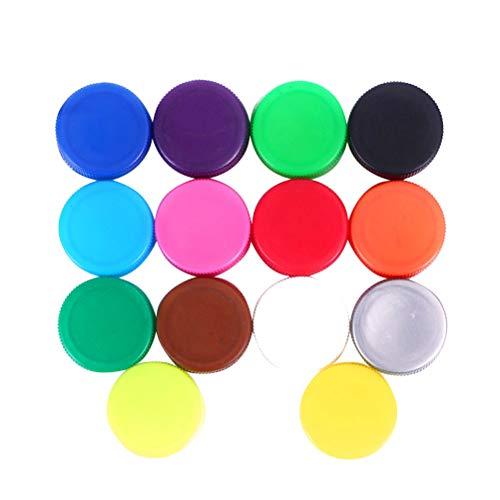 SUPVOX 100pcs Tappi Bottiglia plastica Tappi Vite Colorati per Artigianato Bambini (Assortiti 14 Colori)