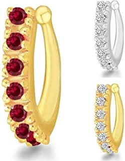 MEENAZ Traditional American diamond Jewellery Sania Mirza Clip on Pressing Type Without Piercing Crystal Gold Silver AD CZ...
