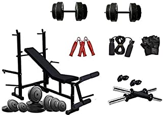 RjKart Home Gym 8 in 1 Gym Bench with PVC Plates and 1 Pair Dumbbell Rods