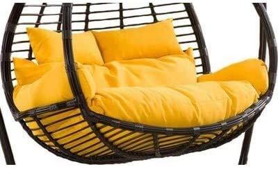 HLZY Cojines al Aire Libre para Sillas de Patio 2 Personas Seaver Huevo Nido Silla Pad Swing Asiento Mat para Patio Al Aire Libre Patio Balcón Balcón Césped Color : Yellow, Size : (59x43x5inch)