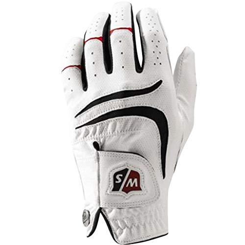Wilson Staff Herren Golfhandschuh, Grip Plus, Material-Kombi, Größe: M/L, Linkshand, MLH, weiß, WGJA00680ML
