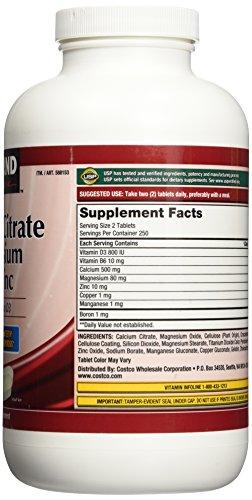 Kirkland Signature Calcium Citrate 500mg (500 Tablets)