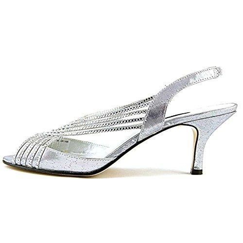 Caparros Womens Twilight Peep Toe Bridal Ankle Strap Sandals Silver