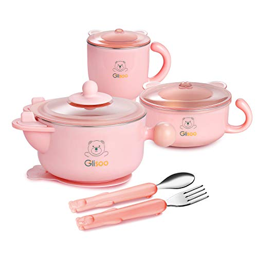 GLISOO BPA Free & 316 Stainless Steel 6 Piece Children's Dinnerware,Kids Mealtime Set for Healthy Infant Feeding, Great Gift for Baby Birthdays & Preschool Graduations ,Pink