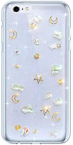 IKASEFU Compatible with iphone 6 Plus 6S Plus Case Transparent Clear Bling Glitter Sparkle Colorful product image