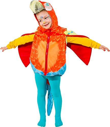 narrenkiste O5035-104 bunt Kinder Mädchen Junge Papagei Weste-Kostüm Gr.104