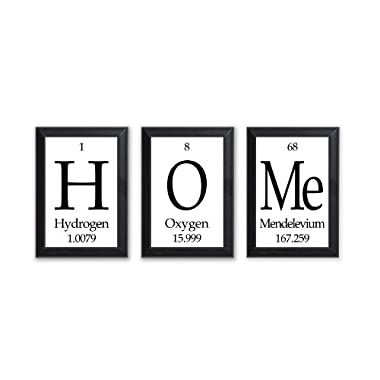 Home Periodic Table of Elements Plaques - Wood Sign - 3 Pc Set - Geeky Home Decor