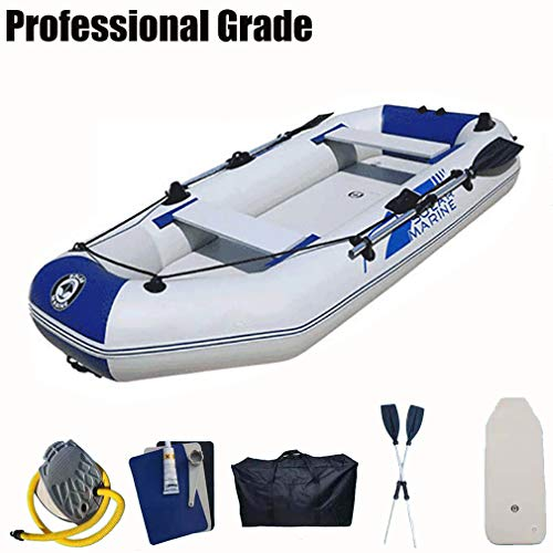 Kayak Inflatable 2 Person, Fishing Inflatable Boat with Hard Floor in for Canal, with Oars & Air Pump,White blue,175 * 103cm