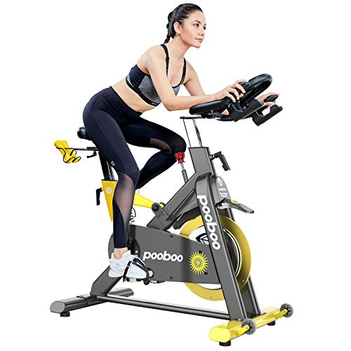 pooboo Commercial Standard Exercise Bike Magnetic Resistance Stationary Bike Indoor Cycling Bike Belt Drive Bike