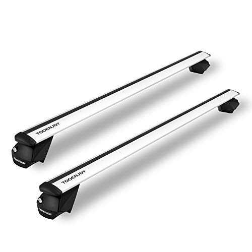 TOOENJOY 53' Universal Roof Rack Cross Bar, 2021 New Aluminum Cargo Bar, Fit 35.8''-50.4'' Span Across, Adjustable Crossbars Most SUVs and Cars for Both Raised and Flush Roof Rail with Locks (Silver)