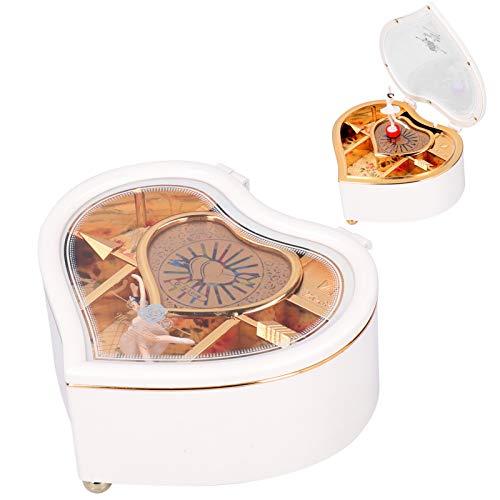 HERCHR Cajas de música, Caja Musical giratoria en Forma de corazón con Bailarina para el día de San Valentín Cajas de Regalo de joyería(L)
