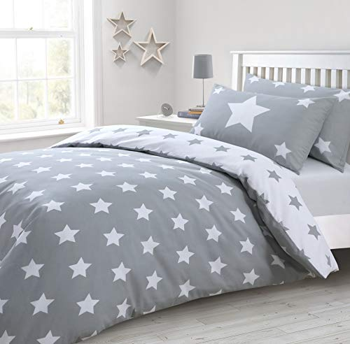 IHIdirect Printed Grey and White Star Duvet Cover & Pillowcase Bedding Set Single, Double or King Size (Double Bed)