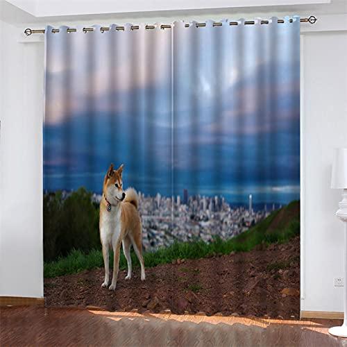 NQING Cortinas De Poliéster con Impresión Digital 3D De Sombreado Y Reducción De Ruido, Cortinas con Ojales De La Serie Dog 2xAN132xAL160cm
