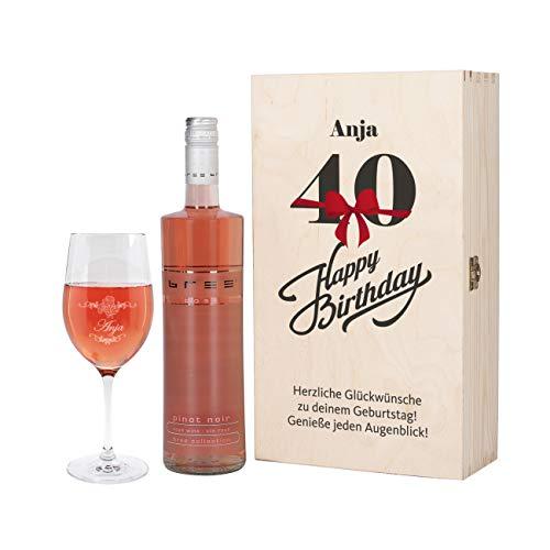 Herz & Heim® Bree Wein-Geschenk zum 40. Geburtstag mit graviertem Weinglas und Bree Wein zur Auswahl in Präsentbox Rosé