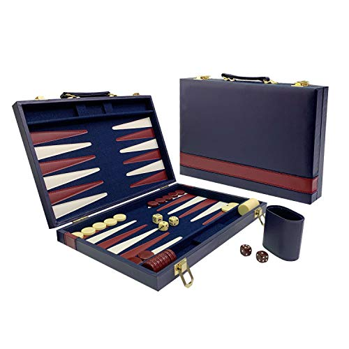 Sun Flair Backgammon Set Leatherette 15 inch, Folding Classic Board Game, Smart Tactics Premium Best Strategy, Tip Guide Enclosed, Blue and Burgundy, 136M-4