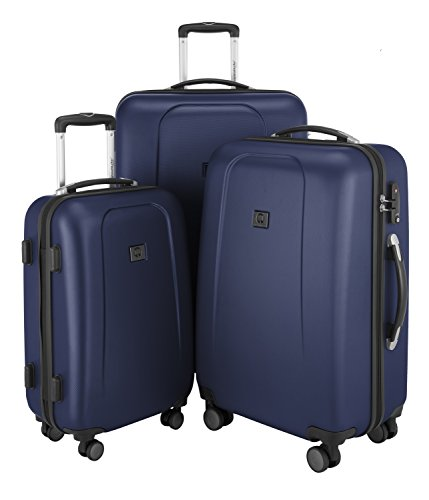 HAUPTSTADTKOFFER - Wedding - Set di 3 Valigie Trolley rigido TSA 4 ruote ABS, (S, M, L), Blu Scuro