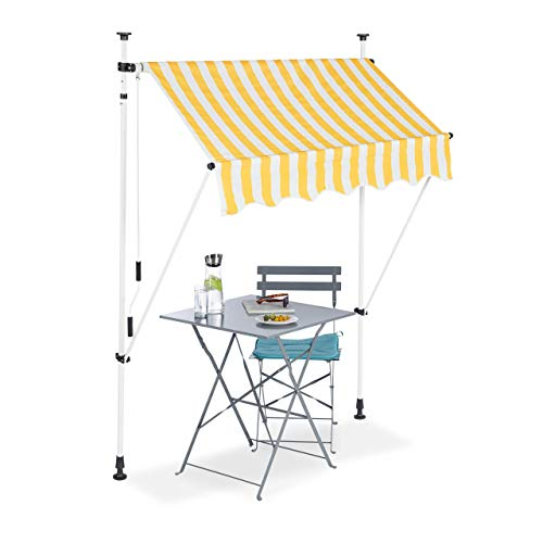 Relaxdays Klemmmarkise, Balkon Sonnenschutz, einziehbar, Fallarm, ohne Bohren, höhenverstellbar, 150 cm breit, gelb gestreift