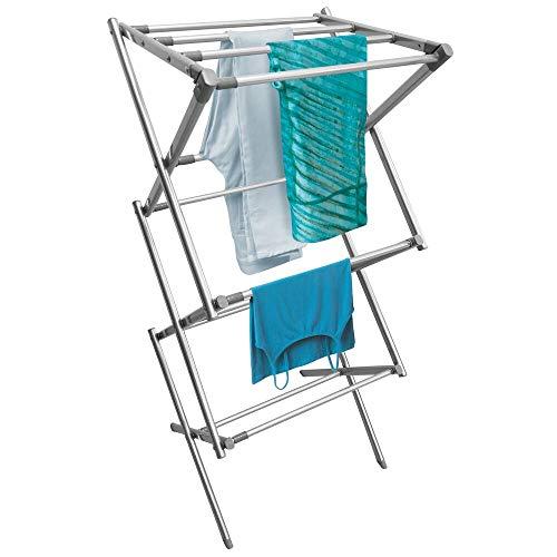 mDesign Tendedero Extensible Vertical – Colgador de Ropa de Metal con Tres Niveles – Tendal Plegable Que Ahorra Espacio para el lavadero, el jardín y Otras Habitaciones de casa – Plateado y Gris