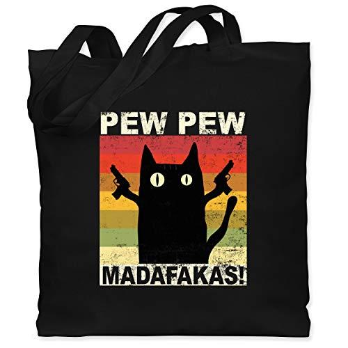 Sprüche Statement mit Spruch - Pew Pew Madafakas Katze Vintage hell - Unisize - Schwarz - katze stoffbeutel - WM101 - Stoffbeutel aus Baumwolle Jutebeutel lange Henkel